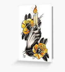 Hand holding Candle - TATTOO Greeting Card