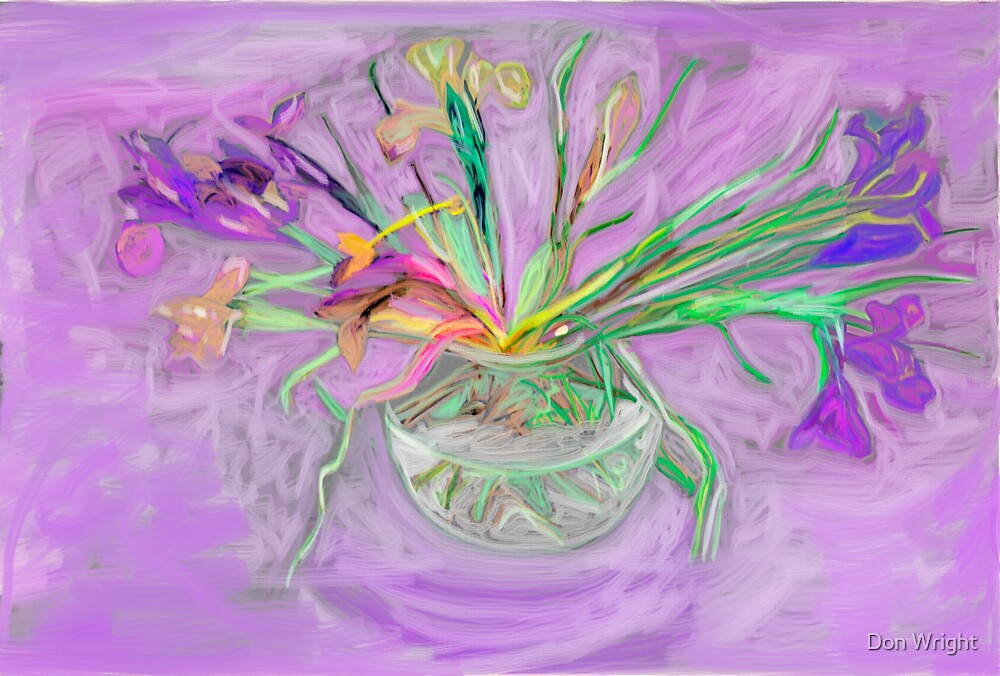 Lavender Orchids Painting by Don Wright