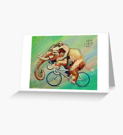 Elephant on a Bicycle Greeting Card