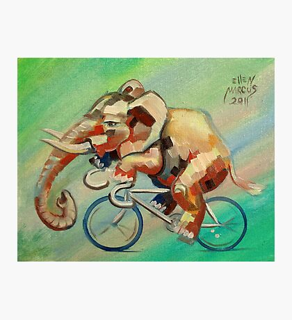 Elephant on a Bicycle Photographic Print