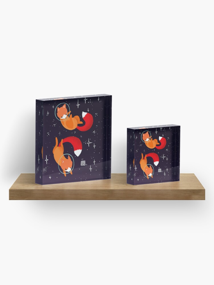 Alternate view of Space Foxes Acrylic Block
