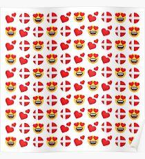 Love Danish Emoji JoyPixels Travel to Denmark Poster
