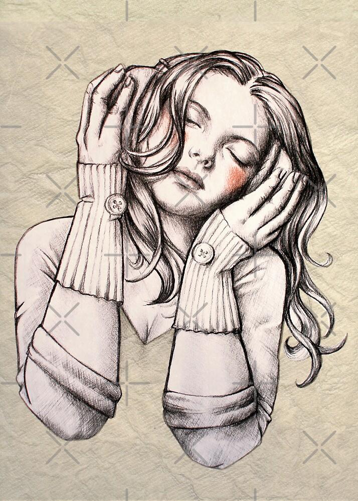 Feels Like the Wind Blows (b&w) by Sarah  Mac Illustration