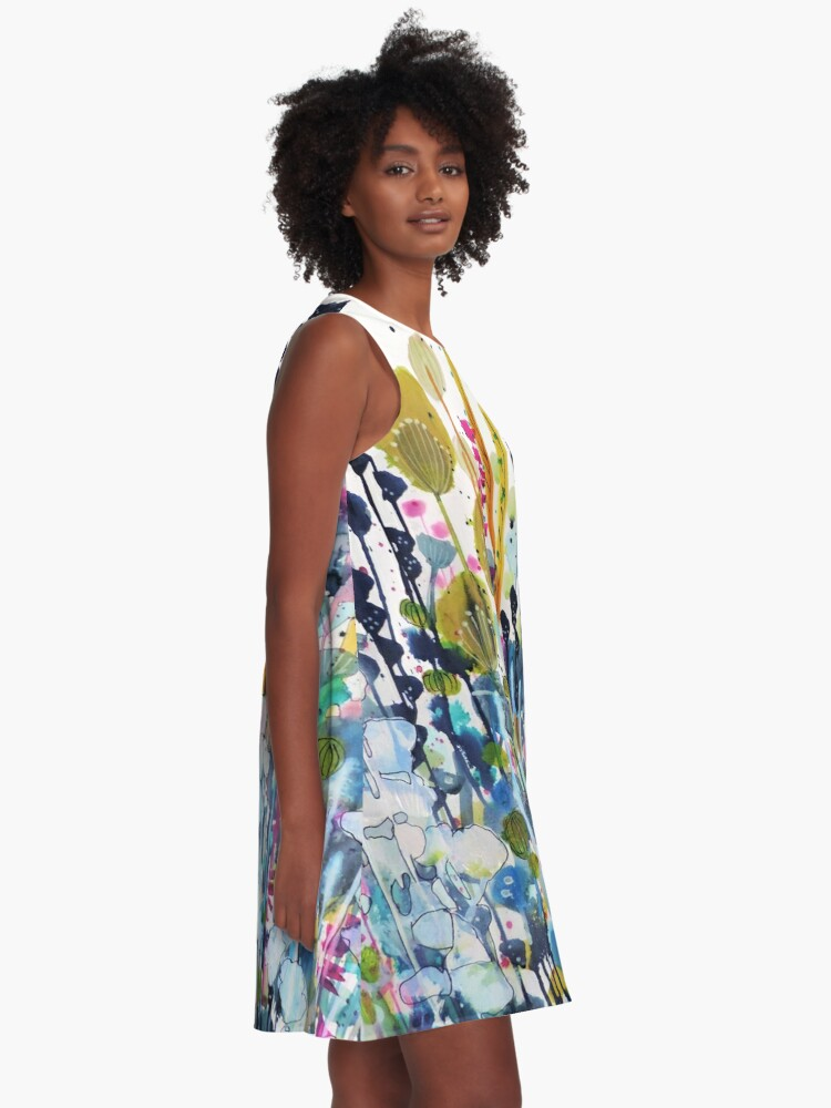 Alternate view of colorful side road A-Line Dress