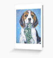 Beagle Christmas Fine Art Painting Greeting Card