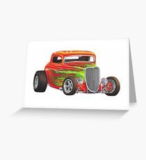 Orange Flame Out Mutant Hot Rod Greeting Card