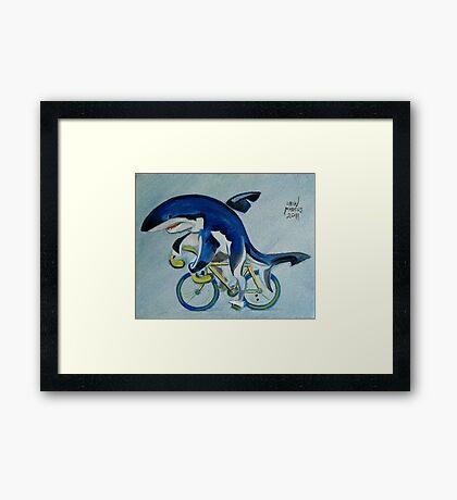 Shark on a Bicycle Framed Print
