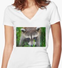 cute raccoon Women's Fitted V-Neck T-Shirt
