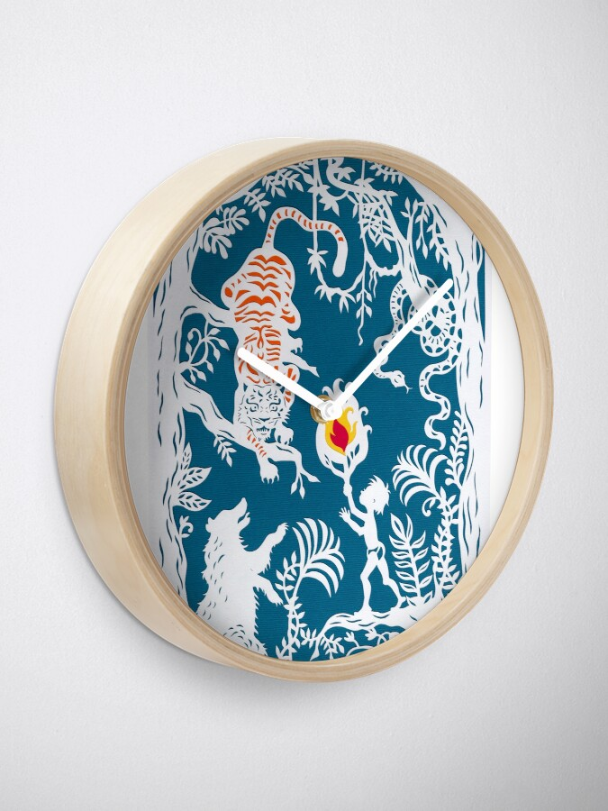 Alternate view of Mogli faces the Tiger ( Blue backdrop) Clock