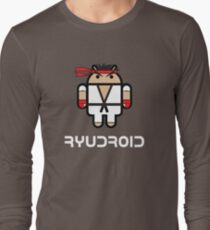 Ryu from Street Fighter goes Google Android Style Long Sleeve T-Shirt
