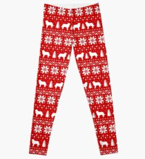 Bernese Mountain Dog Silhouettes Red and White Christmas Holiday Pattern Leggings