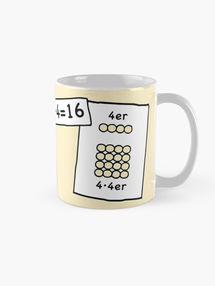 Alternate view of Cocoa with brains | 4x4 comprehension and retention with learning cups at breakfast | 1 Times Square Numbers | Vintage Mug