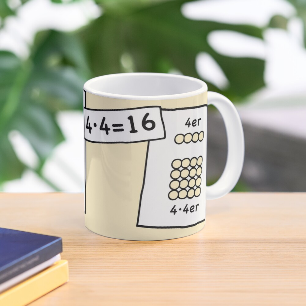 Cocoa with brains | 4x4 comprehension and retention with learning cups at breakfast | 1 Times Square Numbers | Vintage Mug