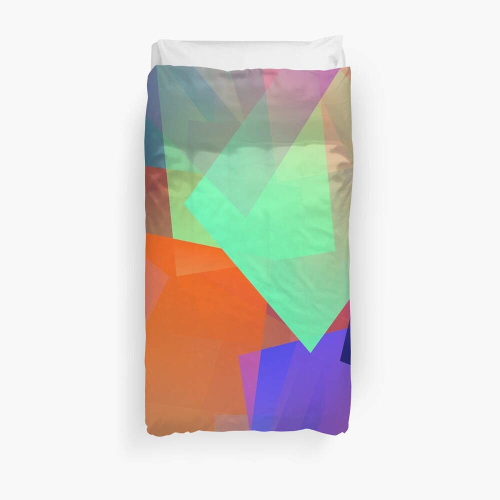 Cubic in Blue, Orange and Lime Duvet Cover