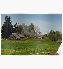 Spring in old farmstead (Yellow house) Poster