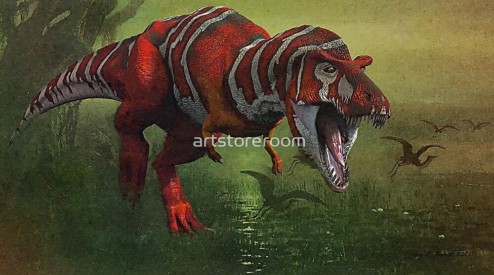 T Rex in Swamp by artstoreroom