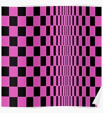 Movement in Squares, by Bridget Riley 1961, chess, tile, square, pattern, design, grid, mosaic, checkerboard, bank check, abstract Posters Poster