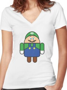 Super Droid Bros. Luigi Women's Fitted V-Neck T-Shirt