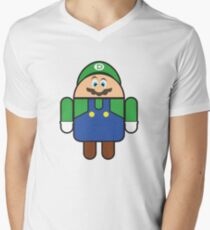 Super Droid Bros. Luigi Men's V-Neck T-Shirt