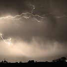 May Showers Lightning Thunderstorm 2 Sepia  by Bo Insogna