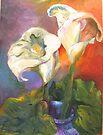 Calla Lilies and Leaf by Barbara Sparhawk