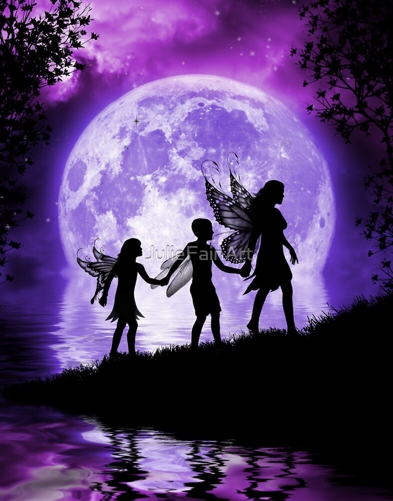 Moonlit Path Fairy Family by JulieFainArt