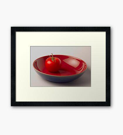 Tomato in Blue Bowl Framed Print
