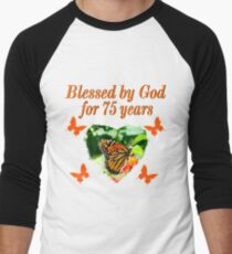 CHRISTIAN 75TH BIRTHDAY BUTTERFLY DESIGN Mens Baseball 3 4 T Shirt