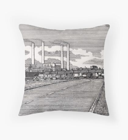201 - BLYTH POWER STATION - DAVE EDWARDS - INK - 1995 Throw Pillow
