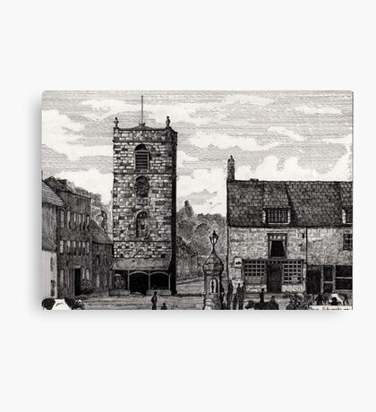 185 - MORPETH MARKET PLACE IN THE 19th CENTURY - DAVE EDWARDS - INK - 1991 Canvas Print