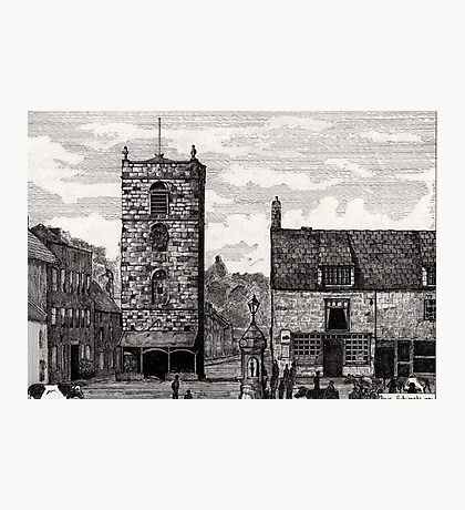 185 - MORPETH MARKET PLACE IN THE 19th CENTURY - DAVE EDWARDS - INK - 1991 Photographic Print