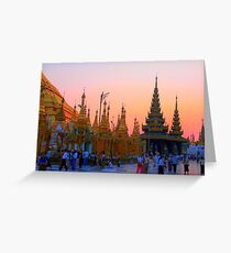 Shwedagon Pagoda after sunset Greeting Card