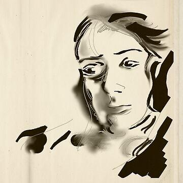 Digital Artistic Ink Woman Black & White by fchagora