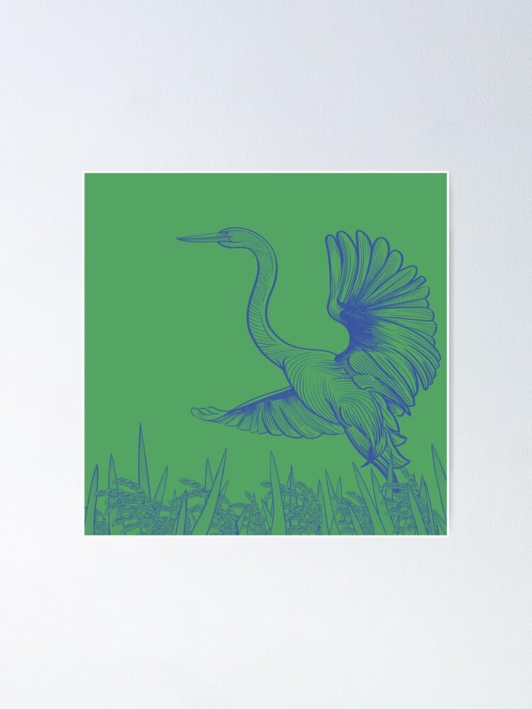 Alternate view of Egret Flying Over Rice Poster