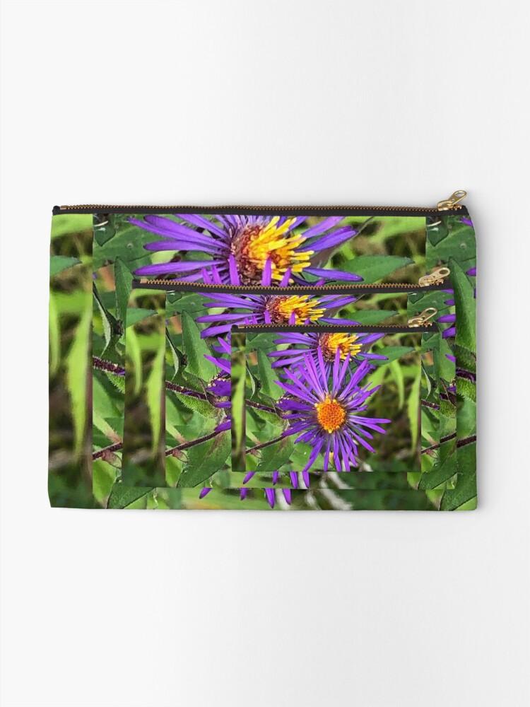 Alternate view of Purple flowers, autumn flowers, flowers Zipper Pouch