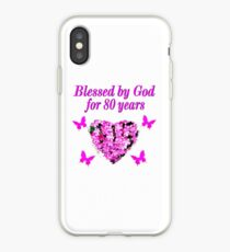 PINK WILDFLOWER BLESSED BY GOD 80TH BIRTHDAY iPhone Case