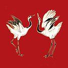 Dancing Crane Pair Design by GrandpasTees