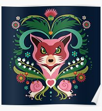 Pink FOX Portrait with Snails Poster