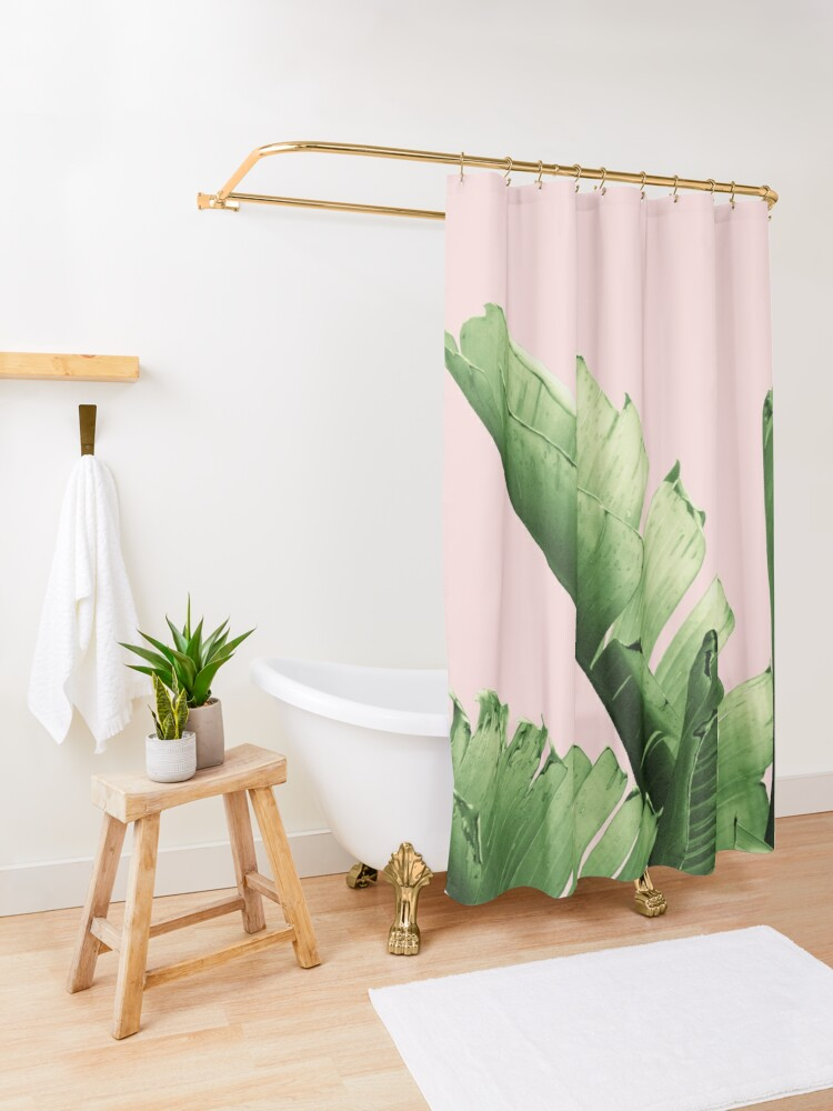 Alternate view of Blush Banana Leaves Dream #12 #tropical #decor #art Shower Curtain