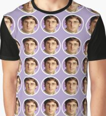 Louis Theroux - Purple Face Pattern Graphic T-Shirt