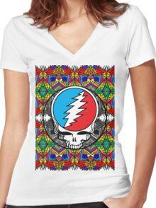 Grateful Dead Trippy Pattern Women's Fitted V-Neck T-Shirt
