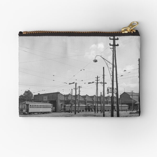 Tramways in Perth No.2 Car Barn Adelaide Terrace, East Perth, State Library of Western Australia Zipper Pouch