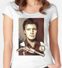 Malcolm Reynolds from Firefly in Shepard Fairey Obama Poster Style Women's Fitted Scoop T-Shirt