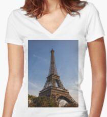 Eiffel Tower (Paris) Women's Fitted V-Neck T-Shirt