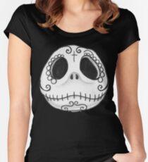 Sugar Skull Jack Skellington face Women's Fitted Scoop T-Shirt