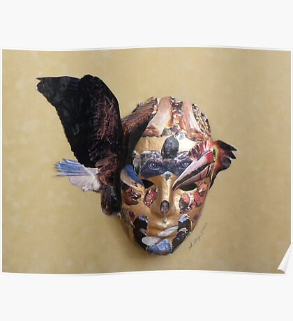 Winged Bird Mask Poster