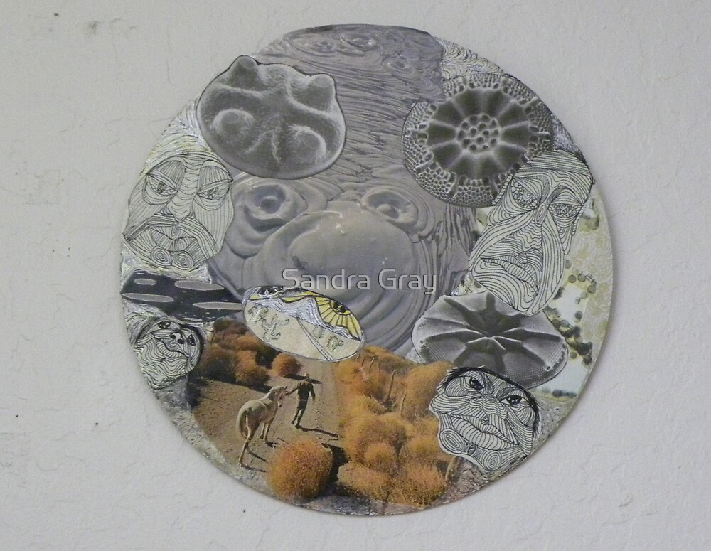 Circular Collage of Concentric Lines  & Forms by Sandra Gray