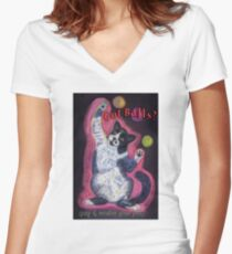Got Balls? Juggling Cat Women's Fitted V-Neck T-Shirt