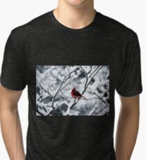 Cardinal In Snow Covered Tree Tri-blend T-Shirt