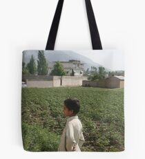 Pakistan- An Afghan boy  view the house of former al-Qaida leader Osama bin Laden Tote Bag